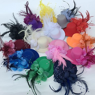povoljno Party pokrivala za glavu-Til / Perje Fascinators / Cvijeće / kape s Cvjetni print 1pc Vjenčanje / Special Occasion / Zabava / večer Glava