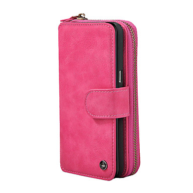 Недорогие Чехлы и кейсы для Galaxy Note-Кейс для Назначение SSamsung Galaxy Note 8 Кошелек / Бумажник для карт / Флип Чехол Однотонный Твердый Кожа PU