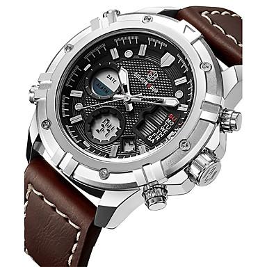 4ec4486d2f9 Homens Relógio Esportivo Relógio Militar Relogio digital Japanês Quartzo Couro  Couro Legitimo Preta   Marrom 30 m Impermeável Calendário Cronógrafo ...
