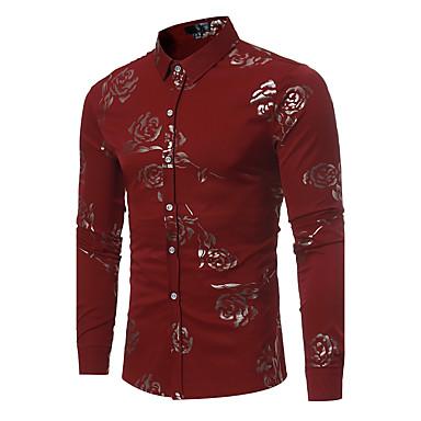 رخيصةأون قمصان رجالي-رجالي مناسب للحفلات / نادي طباعة قميص, ورد ياقة كلاسيكية نحيل / كم طويل