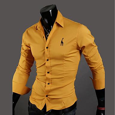 رخيصةأون قمصان رجالي-رجالي قطن قميص, لون سادة ياقة كلاسيكية نحيل / كم طويل / الربيع / الخريف