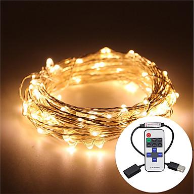 olcso Ünnepi Dekorációs Fény-5 m Fényfüzérek 100 LED Meleg fehér / RGB / Fehér Vízálló / Távirányító / Tompítható <5 V / IP65 / Színváltós