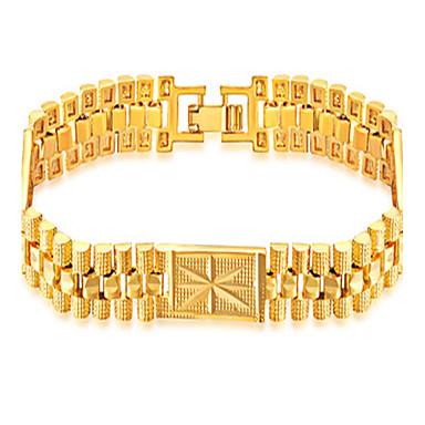 voordelige Heren Armband-Heren Jongens Armbanden met ketting en sluiting Armband meetkundig Modieus Hip-hop 18 Karaats Verguld Armband sieraden Goud Voor Dagelijks Causaal / Roestvast staal