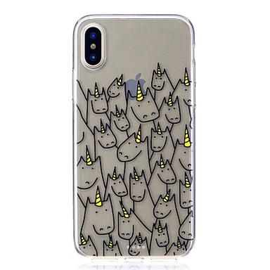 voordelige iPhone X hoesjes-hoesje Voor Apple iPhone X / iPhone 8 Plus / iPhone 8 Schokbestendig / Ultradun / Patroon Achterkant Eenhoorn / Cartoon Zacht TPU