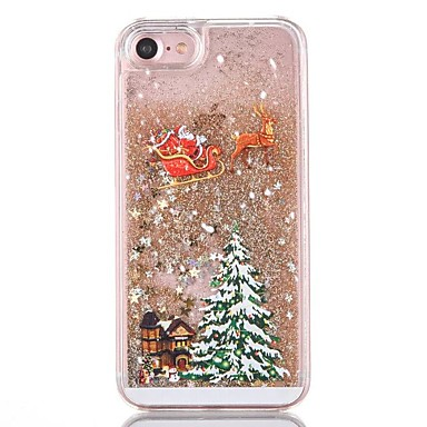 voordelige iPhone-hoesjes-hoesje Voor iPhone 7 / iPhone 7 Plus / iPhone 6s Plus iPhone 8 Plus / iPhone 8 / iPhone 7 Plus Stromende vloeistof Achterkant Glitterglans / Kerstmis Hard PC