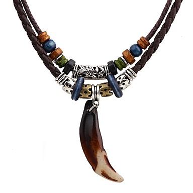 رجالي قلائد الحلي الذئب الأسنان بوهيميان بانغك روك النمط الصيني جلد سبيكة بني قلادة مجوهرات من أجل الهالووين مناسب للخارج