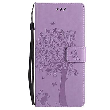 Недорогие Чехлы и кейсы для Galaxy Note 4-Кейс для Назначение SSamsung Galaxy Note 8 / Note 5 / Note 4 Кошелек / Бумажник для карт / со стендом Чехол Кот / Бабочка / дерево Твердый Кожа PU
