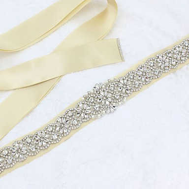 cheap Party Sashes-Satin / Tulle Wedding / Special Occasion Sash With Rhinestone / Imitation Pearl Sashes