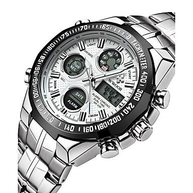 Недорогие Часы на металлическом ремешке-Муж. электронные часы Кулоны Защита от влаги Аналого-цифровые Белый Черный Синий / Нержавеющая сталь / Японский / Будильник / Календарь / Светящийся