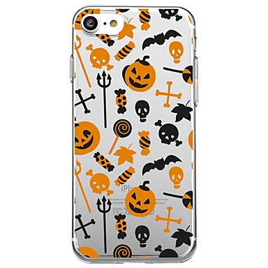 voordelige iPhone-hoesjes-hoesje Voor Apple iPhone X / iPhone 8 Plus / iPhone 8 Transparant / Patroon Achterkant Tegel / Cartoon / Halloween Zacht TPU
