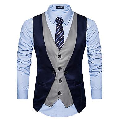 رخيصةأون سترات و بدلات الرجال-رجالي أحمر رمادي غامق أزرق البحرية L XL XXL Vest أسود اللون الرمادي ألوان متناوبة V رقبة نحيل / بدون كم / الخريف / الشتاء