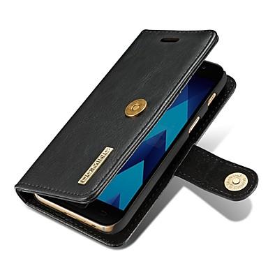 Недорогие Чехлы и кейсы для Galaxy А-Кейс для Назначение SSamsung Galaxy A3 (2017) / A5 (2017) / A7 (2017) Кошелек / Бумажник для карт / Флип Чехол Однотонный Твердый Настоящая кожа