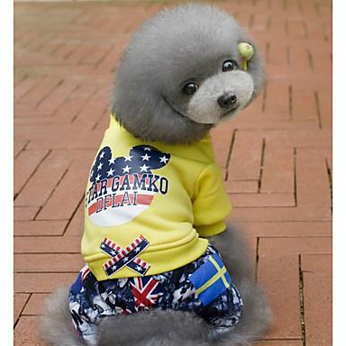 رخيصةأون ملابس وإكسسوارات الكلاب-كلب حللا الشتاء ملابس الكلاب أصفر أحمر كوستيوم طفل كلب صغير قطن نجوم كاجوال / يومي S M L XL XXL