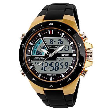 رخيصةأون ساعات الرجال-SKMEI رجالي ساعة رياضية ساعة رقمية رقمي أسود ساعة كاجوال كوول تناظري-رقمي كاجوال - ذهبي أسود