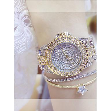 povoljno Ženski satovi-Žene Luxury Watches Ručni satovi s mehanizmom za navijanje Diamond Watch Kvarc Nehrđajući čelik Srebro / Zlatna Casual sat Analog dame Elegantno Bling Bling - Zlato Pink