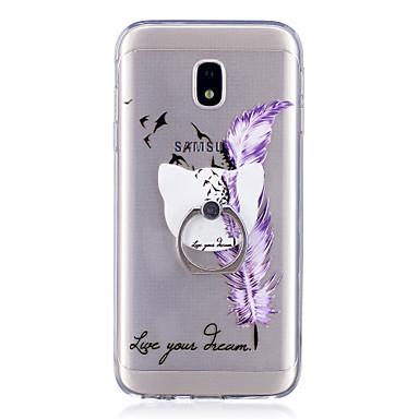 رخيصةأون حافظات / جرابات هواتف جالكسي J-غطاء من أجل Samsung Galaxy J7 (2017) / J7 (2016) / J5 (2017) حامل الخاتم / شفاف / نموذج غطاء خلفي الريش ناعم TPU