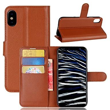 غطاء من أجل Apple iPhone X / iPhone 8 Plus / iPhone 8 محفظة / حامل البطاقات / قلب غطاء كامل للجسم لون سادة قاسي جلد PU