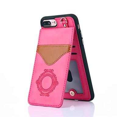 Недорогие Кейсы для iPhone X-Кейс для Назначение Apple iPhone X / iPhone 8 Pluss / iPhone 8 Бумажник для карт / со стендом / С узором Кейс на заднюю панель Мультипликация / Кружева Печать / Цветы Твердый Настоящая кожа