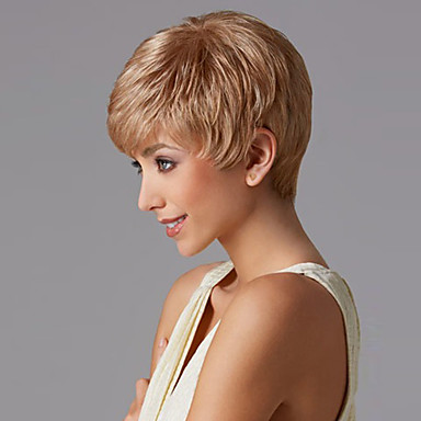 Synthetic Wig Women S Straight Blonde Pixie Cut With Bangs