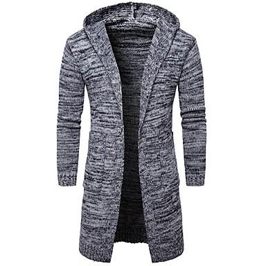 povoljno Muški džemperi i kardigani-Muškarci Dnevno / Vikend Jednobojni Dugih rukava Slim Regularna Kardigan Džemper od džempera, S kapuljačom Proljeće / Jesen Crn / Sive boje M / L / XL