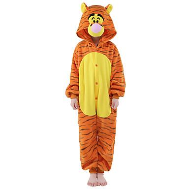 Pentru copii Pijama Kigurumi Tigru Animal Pijama Întreagă Flanel Lână Portocaliu Cosplay Pentru Baieti si fete Sleepwear Pentru Animale Desen animat Festival / Sărbătoare Costume