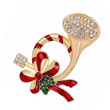 رخيصةأون بروشات-نسائي الماس الاصطناعي دبابيس أنيق بروش مجوهرات ذهبي من أجل عيد الميلاد مناسب للبس اليومي