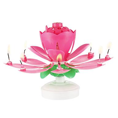 povoljno Dekoracija doma-1pc plastične predenje glazbeni rođendan cvijet svijeća
