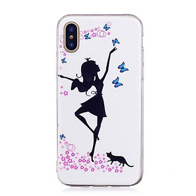 voordelige iPhone-hoesjes-hoesje Voor Apple iPhone X / iPhone 8 Plus / iPhone 8 Glow in the dark / IMD / Patroon Achterkant Sexy dame Zacht TPU