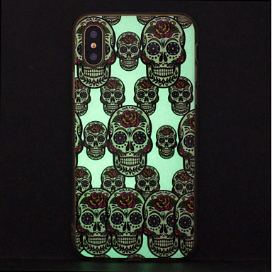 voordelige iPhone-hoesjes-hoesje Voor Apple iPhone X / iPhone 8 Plus / iPhone 8 Glow in the dark / IMD / Patroon Achterkant Doodskoppen Zacht TPU