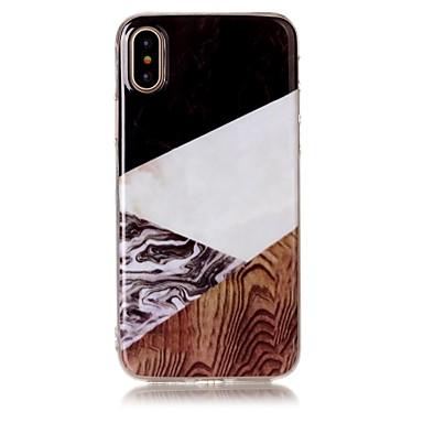 voordelige iPhone X hoesjes-hoesje Voor Apple iPhone X / iPhone 8 Plus / iPhone 8 IMD / Patroon Achterkant Houtnerf / Marmer Zacht TPU