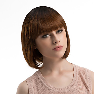 Synthetic Wig Women S Straight Brown Bob With Bangs Synthetic Hair