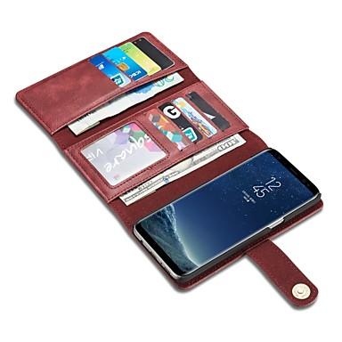 Недорогие Чехлы и кейсы для Galaxy S-Кейс для Назначение SSamsung Galaxy S8 Plus / S8 / S7 edge Кошелек / Бумажник для карт / Флип Чехол Сплошной цвет Твердый Настоящая кожа