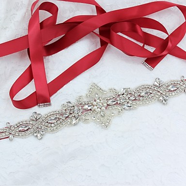 cheap Party Sashes-Satin / Tulle / Polyester / Cotton Wedding / Special Occasion / Party / Evening Sash With Rhinestone / Imitation Pearl Women's Sashes