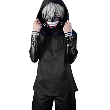 ieftine Peruci Anime Cosplay-Costume Cosplay Inspirat de Tokyo Ghoul Ken Kaneki Anime Accesorii Cosplay Geacă Vârf Pantaloni PU piele Bărbați Pentru femei Costume de Halloween / Pantaloni scurți / Mască / Perucă / Mască