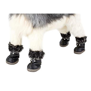 povoljno Odjeća za psa i dodaci-Pas Čizme za snijeg Zima Odjeća za psa Vodootporno Crno Crvena Kostim PU (Poliuretan) Jednobojni Ležerno / za svaki dan Ugrijati Za opuštanje XS S M L XL