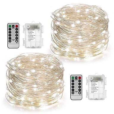 olcso Ünnepi Dekorációs Fény-10 m Fényfüzérek 100 LED Meleg fehér / Fehér / Több színű Vízálló / Távirányító / Tompítható Akkumulátor / IP65 / Színváltós