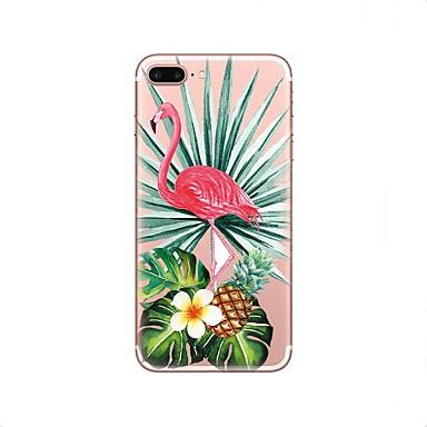 voordelige iPhone 5c hoesjes-hoesje Voor Apple iPhone X / iPhone 8 Plus / iPhone 8 Transparant / Patroon Achterkant Flamingo / dier Zacht TPU
