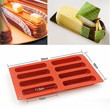 رخيصةأون أدوات الفرن-8 أشكال eclair سيليكون قالب الكعكة الخبز الكلاسيكية إصبع البسكويت العفن