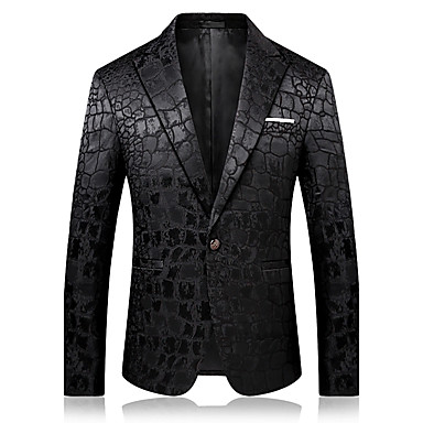 cheap Men's Blazers & Suits-Men's Party / Daily / Holiday Sophisticated Spring &  Fall / Fall / Winter Regular Blazer, Solid Colored Notch Lapel Long Sleeve Cotton / Polyester Black / Business Casual
