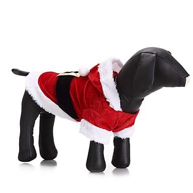 رخيصةأون ملابس وإكسسوارات الكلاب-قط كلب ازياء تنكرية المعاطف هوديس الشتاء ملابس الكلاب أحمر كوستيوم قماش قطيفة لون سادة حفلة الكوسبلاي كاجوال / يومي XXS XS S M L