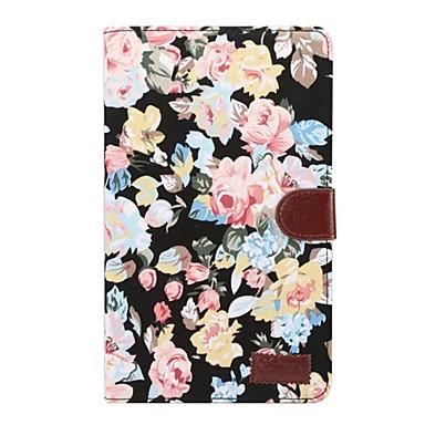رخيصةأون حالة سامسونج اللوحي-غطاء من أجل Samsung Galaxy Tab A 8.0 (2017) حامل البطاقات / مع حامل / قلب غطاء كامل للجسم زهور قاسي منسوجات