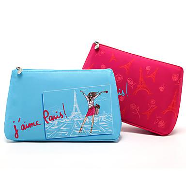 رخيصةأون خزانة المكياج و المجوهرات-الكرتون الملونة باريس برج ايفل الفاصل حقيبة ماكياج التجميل حقيبة التخزين 2 اللون