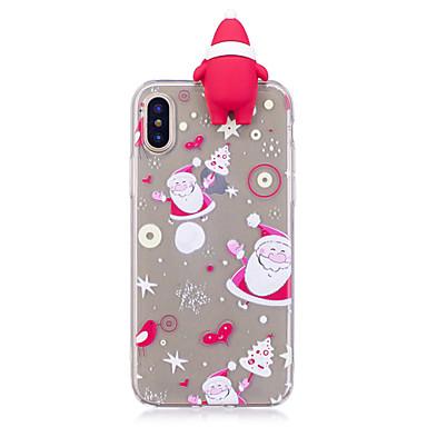 رخيصةأون أغطية أيفون-غطاء من أجل Apple iPhone X / iPhone 8 Plus / iPhone 8 نموذج / اصنع بنفسك غطاء خلفي كارتون / 3Dكرتون / عيد الميلاد ناعم TPU