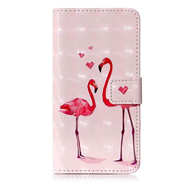 voordelige iPhone 8 hoesjes-hoesje Voor Apple iPhone X / iPhone 8 Plus / iPhone 8 Portemonnee / Kaarthouder / met standaard Volledig hoesje Flamingo / dier Hard PU-nahka
