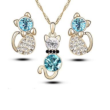 povoljno Komplet nakita-Žene Kristal Viseće naušnice Ogrlica Pasijans Lenonice dame Moda Kristal Imitacija dijamanta Naušnice Jewelry Zlato / Pink Za Dnevno