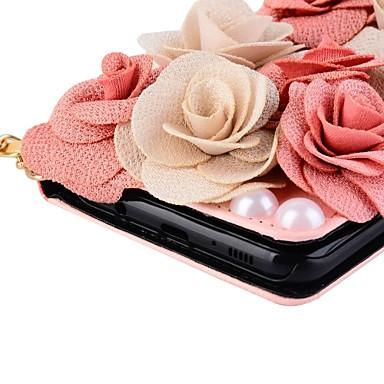 Недорогие Чехлы и кейсы для Galaxy Note 4-Кейс для Назначение Note 8 / Note 5 / Note 4 Кошелек / Бумажник для карт / со стендом Чехол Цветы Твердый Кожа PU