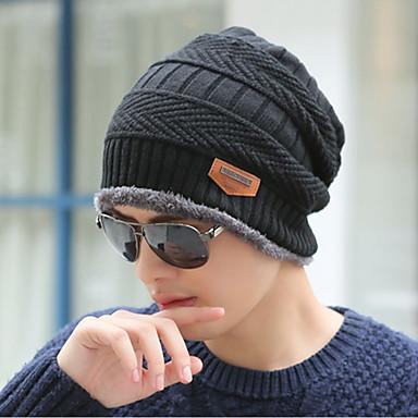 رخيصةأون قبعات الرجال-الشتاء أسود قبعة مرنة لون سادة رجالي-رياضي محبوك كنزة,عمل