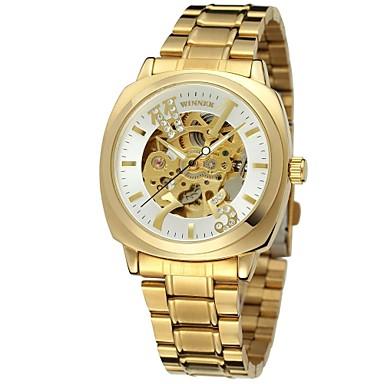 5e9ab641295 WINNER Mulheres Relógio Esqueleto Relógio de Pulso relógio mecânico  Automático - da corda automáticamente Aço Inoxidável Prata   Dourada 30 m  Gravação Oca ...