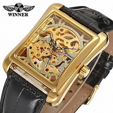 رخيصةأون ساعات الرجال-WINNER رجالي ساعة المعصم ووتش الميكانيكية داخل الساعة ميكانيكي يدوي ستانلس ستيل أسود 30 m نقش جوفاء مماثل كلاسيكي عتيق كاجوال - ذهبي فضي
