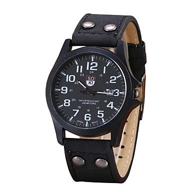 Недорогие Часы на кожаном ремешке-Муж. Спортивные часы На каждый день Секундомер Аналоговый Черный Хаки Зеленый / Один год / Нержавеющая сталь / Кожа